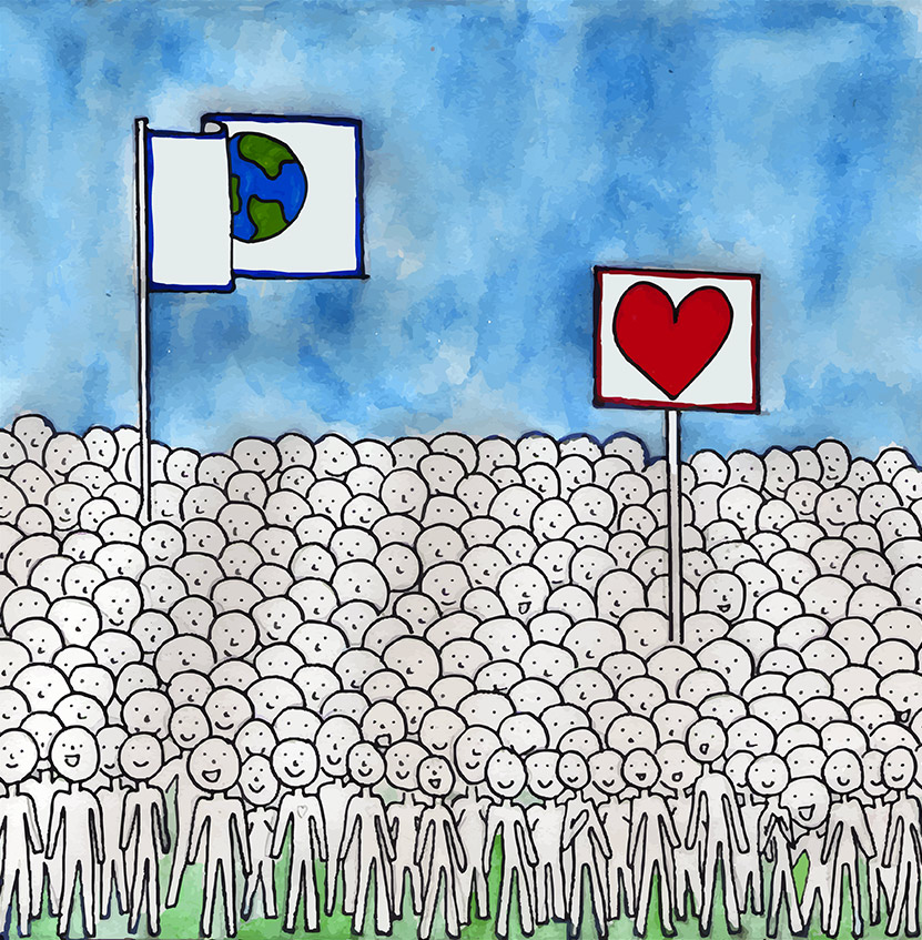 Illustration of a huge crowd holding peace flags and heart flags.