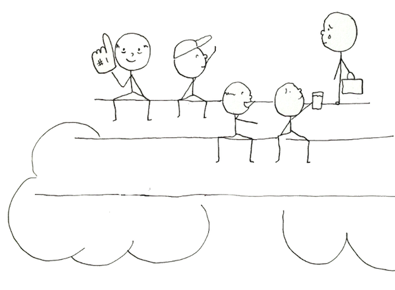 Drawing - people cheering from bleachers, surrounded by clouds.