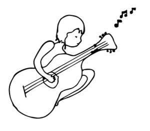 Drawing: Woman playing guitar