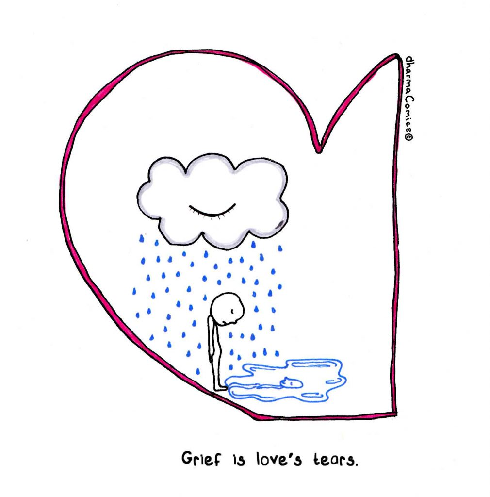 """Drawing: person standing under a raining cloud. Text: """"Grief is love's tears"""""""