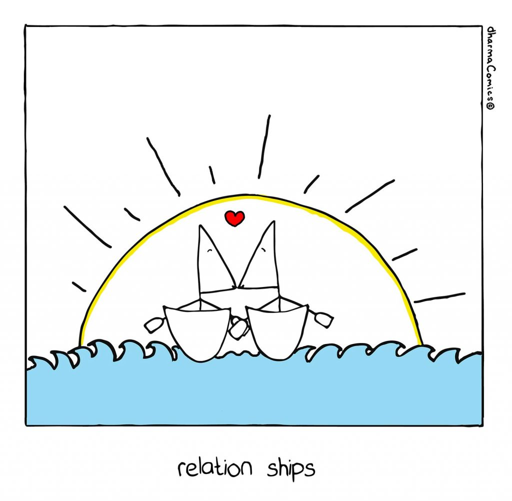 """Comic of 2 people on boats paddling into the sunset. Text: """"relation ships"""""""