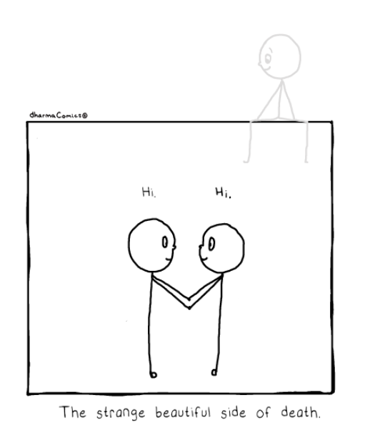 """Comic: 2 people meeting while a """"ghostly"""" third watches from above.  Text: The strange beautiful side of death"""