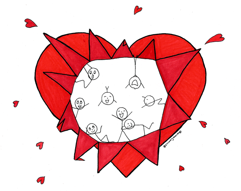 Drawing: Happy people exploding out of a heart