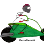 Drawing: Leah on a motorbike