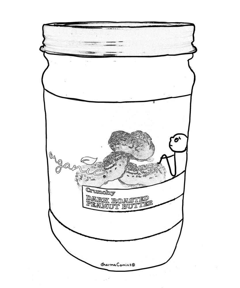 Drawing: Person stuck inside a jar of peanuts