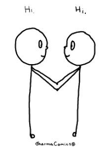 Re-meeting: Drawing of two people meeting