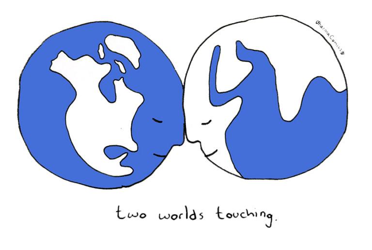 Two worlds touching