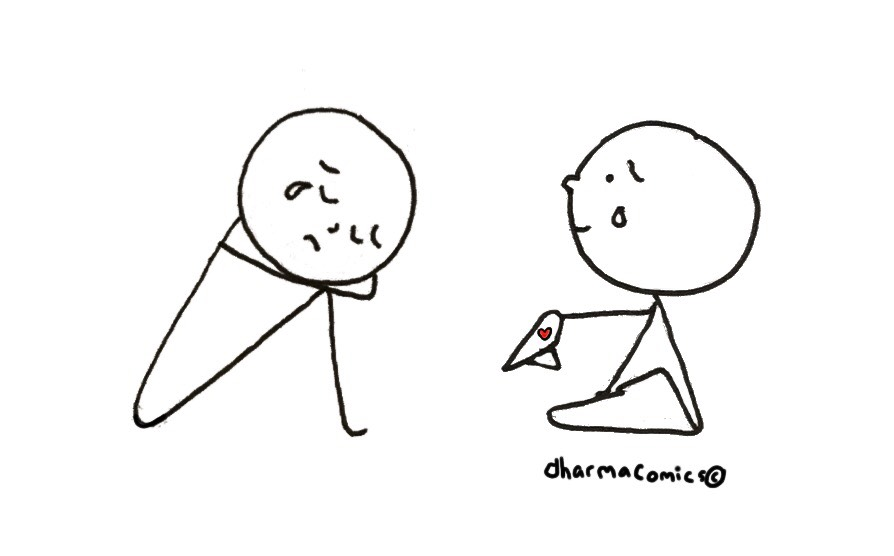 Illustration: One person is crying and the other offers them a napkin